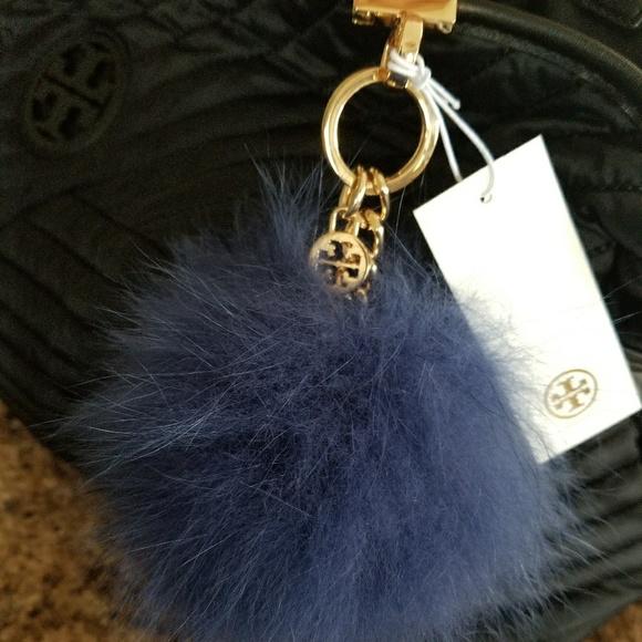 Tory Burch NWT Black Real Fox Fur Pom Pom Key Fob Chain Charm Bag Sold Out RARE